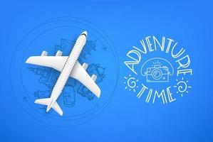 Adventure time concept with aircraft model and doodle elements, famous world sights vector