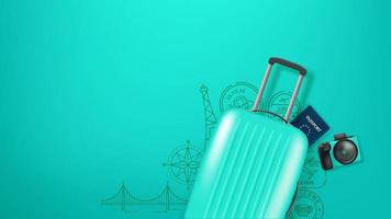 Ilustración de viaje con bolso, cámara y sellos. vector