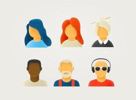 Different vector characters in 3d style illustration.