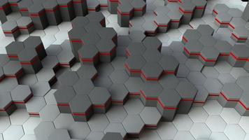 fundo hexágono branco e vermelho 3d
