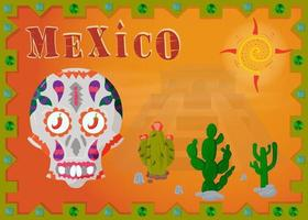 Landscape of the Mexican desert in the frame with skull vector