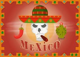 Skull in Mexican sombrero smoking a cigar frame vector
