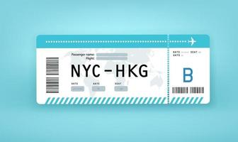 Flight paper boarding pass vector mockup. NYC to HKG. New York City to Hong Kong
