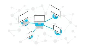 esquema abstracto de la red informática moderna. ilustración vectorial isométrica vector