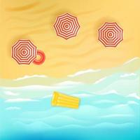 Sand beach with umbrellas. Summer vacation illustration vector