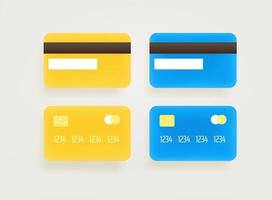 Gold and blue bank cards vector clipart