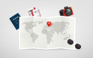 Ilustración de viaje con mapa de papel, cámara digital, pasaporte, gafas de sol y pin rojo vector
