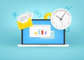 concepto de gestión del tiempo. portátil moderno con reloj y otras cosas vector