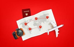 Ilustración de viaje con mapa de papel, modelo de avión, cámara. camino del turista. vector