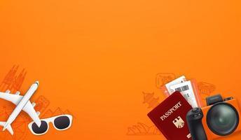 Travel illustration with different stuff. Passport, digital camera, tickets, sunglasses vector