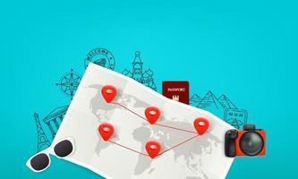 Ilustración de viaje con mapa de papel, cámara digital, pasaporte, gafas de sol y alfileres rojos vector