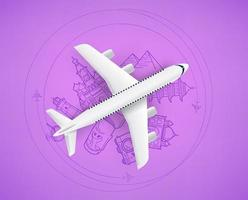 Air travel concept with aircraft model and doodle elements vector