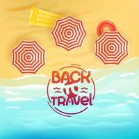 Sand beach with umbrellas. Summer vacation illustration with lettering vector