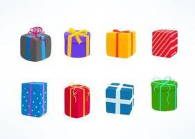cajas de regalo de color vector clipart aislado en blanco
