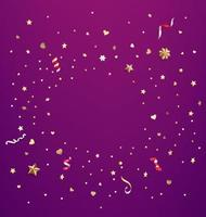 Confetti of stars and hearts. Vector card with copy space template