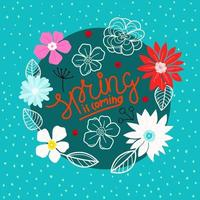 Spring time good time vector concept with calligraphic inscription