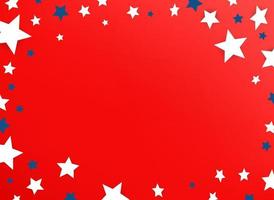 Decorative frame with color stars on red background vector