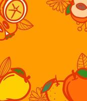 Summer fruits background with copy space for text. Vector banner template
