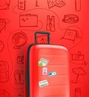 Banner vertical con bolso de viaje rojo sobre fondo rojo. vector