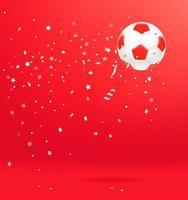 Balón de fútbol con confeti sobre fondo rojo. vector