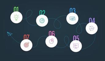 plantilla de vector de pasos comerciales con iconos de color. plantilla de infografía