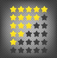 Gold rating stars set isolated vector