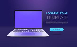Promo landing page template with modern laptop vector