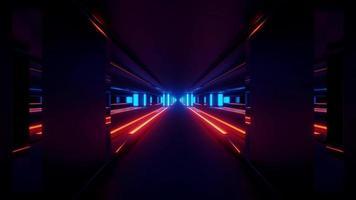 Ilustración 3d abstracto de túnel geométrico oscuro con líneas luminosas foto