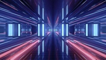Abstract 3d illustration of glowing perspective geometrical corridor photo