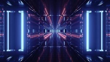 Futuristic 3d illustration of perspective tunnel with glowing panels photo