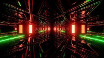 Ilustración geométrica 3d de luces y patrones luminosos que forman el corredor foto