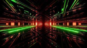 Ilustración 3d de formas geométricas y luces que forman el corredor oscuro foto