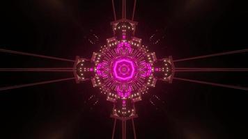 Glowing geometric ornament in darkness 3d illustration photo