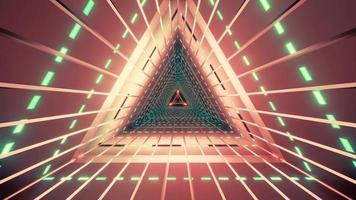 túnel triangular con luces de neón ilustración 3d foto