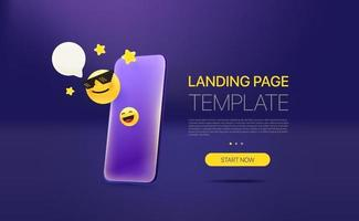 Promo landing page template with modern smartphone. Template with sample text vector