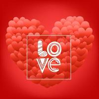 Happy valentines day greeting card with frame. Love. vector