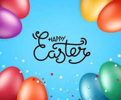 Happy Easter greeting card. Vector illustration with holiday elements