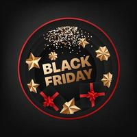 Black friday vector card with golden elements
