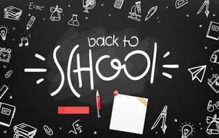 School chalkboard with different objects and lettering logo. Welcome back to school vector