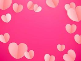 vector de fondo de corazones de color rosa. plantilla para tarjeta de felicitación, portada, presentación