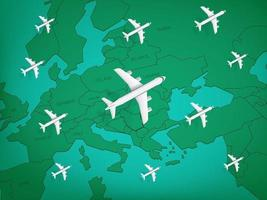 World travel vector concept with aircrafts and map
