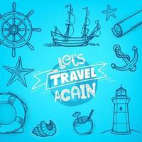 Let's travel again. Adventure vector concept