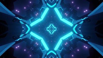 3d illustration of cross shaped glowing corridor