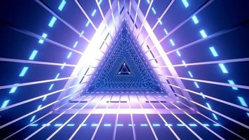 Triangle tunnel with bright blue lights 3D illustration photo