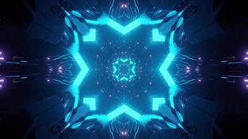 3d illustration of geometric glowing tunnel photo