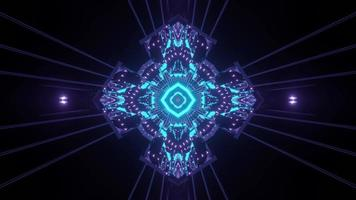 Blue neon lights in sci fi tunnel 3d illustration photo
