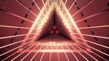 Red triangle tunnel 3D illustration photo