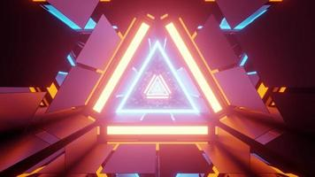 3d illustration of bright neon tunnel