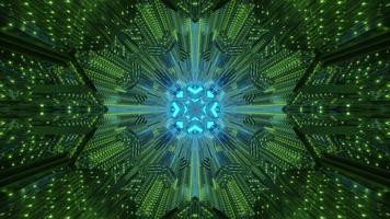 Crystal tunnel with neon illumination 3D illustration photo