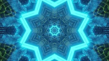 Patrón de caleidoscopio ornamental con ilustración 3d de luz de neón foto